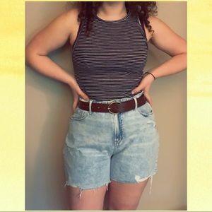 High-Waisted Raw Denim Shorts w/ Slimming Pockets